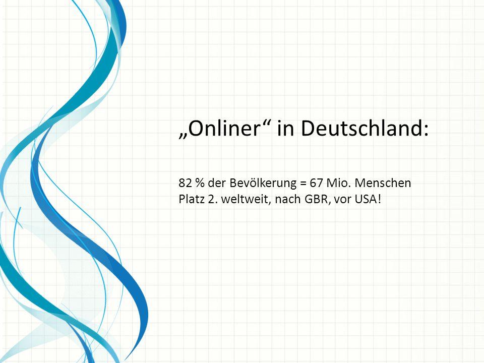 Onliner in Deutschland: 82 % der Bevölkerung = 67 Mio.