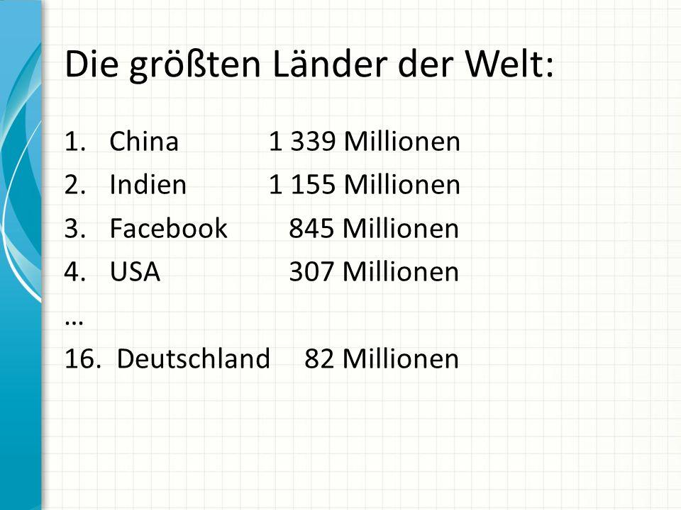 Die größten Länder der Welt: 1. China 1 339 Millionen 2.