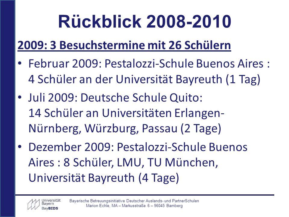 2009: 3 Besuchstermine mit 26 Schülern Februar 2009: Pestalozzi-Schule Buenos Aires : 4 Schüler an der Universität Bayreuth (1 Tag) Juli 2009: Deutsch