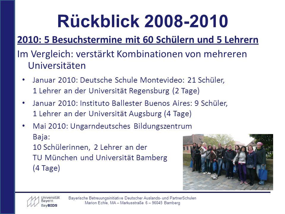 2010: 5 Besuchstermine mit 60 Schülern und 5 Lehrern Im Vergleich: verstärkt Kombinationen von mehreren Universitäten Bayerische Betreuungsinitiative