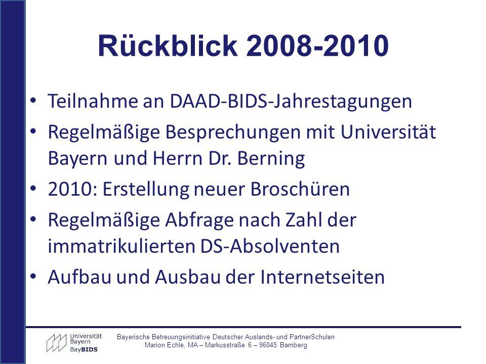 Teilnahme an DAAD-BIDS-Jahrestagungen Regelmäßige Besprechungen mit Universität Bayern und Herrn Dr. Berning 2010: Erstellung neuer Broschüren Regelmä