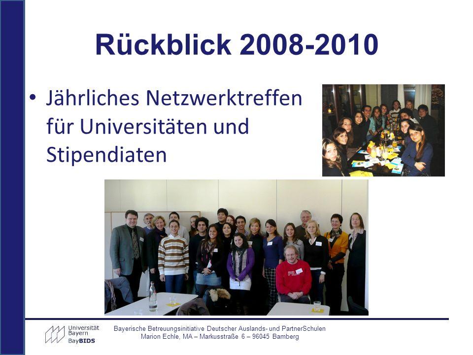 Jährliches Netzwerktreffen für Universitäten und Stipendiaten Bayerische Betreuungsinitiative Deutscher Auslands- und PartnerSchulen Marion Echle, MA