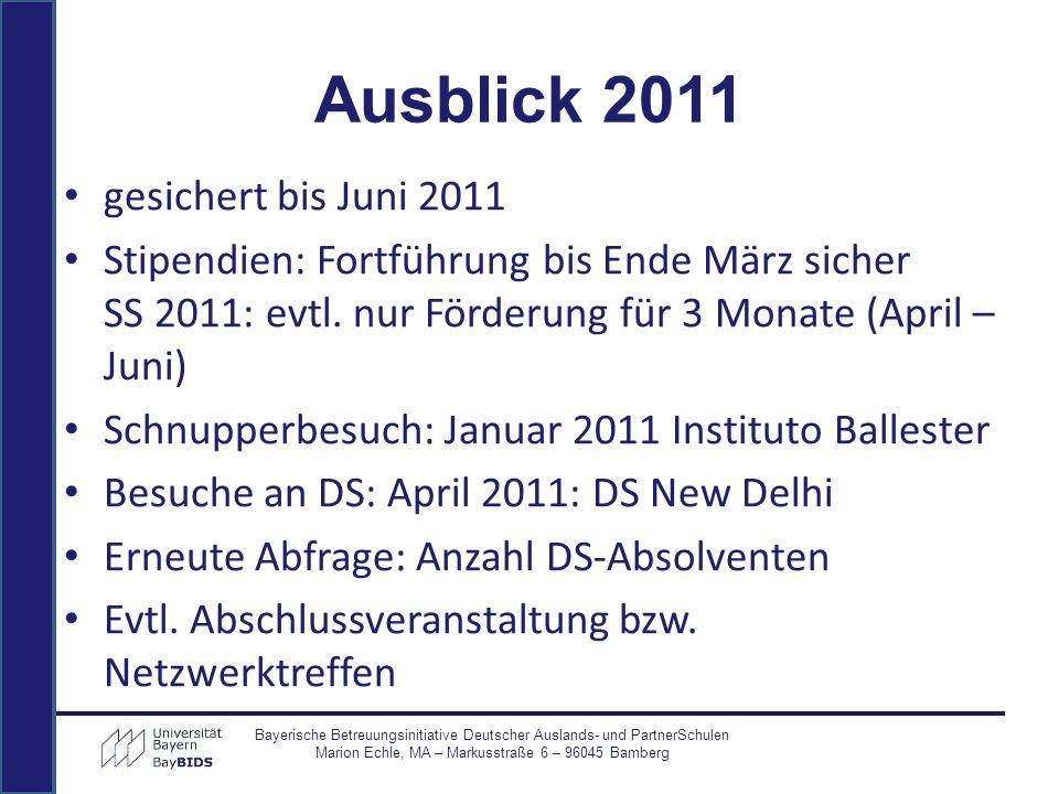 gesichert bis Juni 2011 Stipendien: Fortführung bis Ende März sicher SS 2011: evtl. nur Förderung für 3 Monate (April – Juni) Schnupperbesuch: Januar