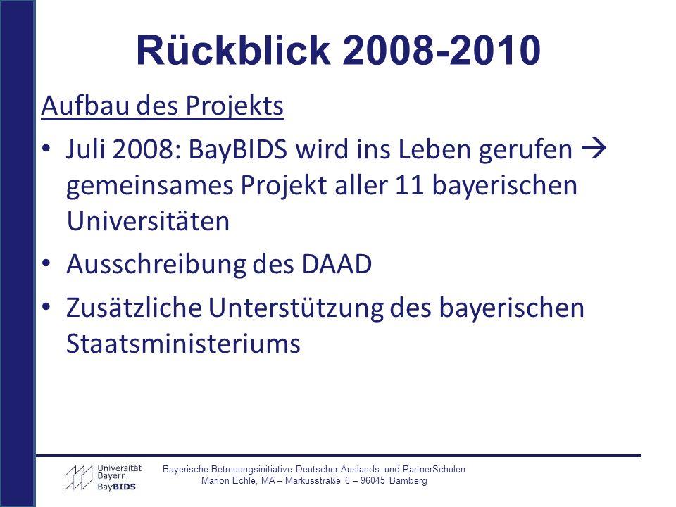 Bayerische Betreuungsinitiative Deutscher Auslands- und PartnerSchulen Marion Echle, MA – Markusstraße 6 – 96045 Bamberg Aufbau des Projekts Juli 2008