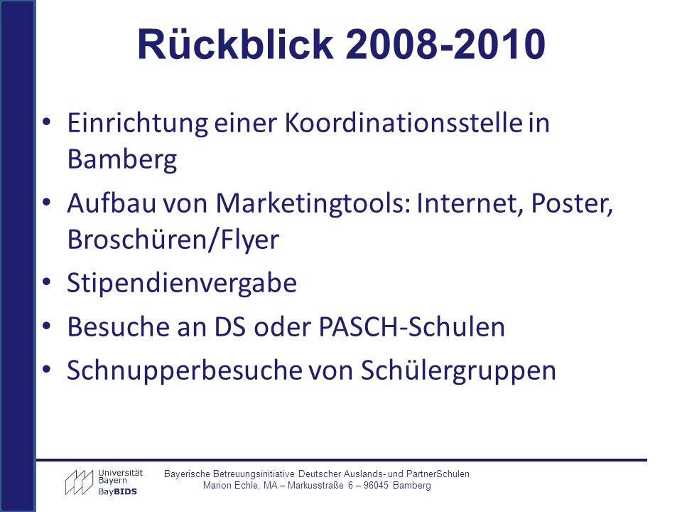Vergabe von Stipendien WS 2008/2009: 13 Stipendien SS 2009: 13 Stipendien (12 Verlängerungen) WS 2009/2010: 15 Stipendien SS 2010: 13 Stipendien (11 Verlängerungen) WS 2010/11: 7 Stipendien (1 Verlängerung) Insgesamt: 37 Stipendiaten aus 18 Ländern Bayerische Betreuungsinitiative Deutscher Auslands- und PartnerSchulen Marion Echle, MA – Markusstraße 6 – 96045 Bamberg Rückblick 2008-2010