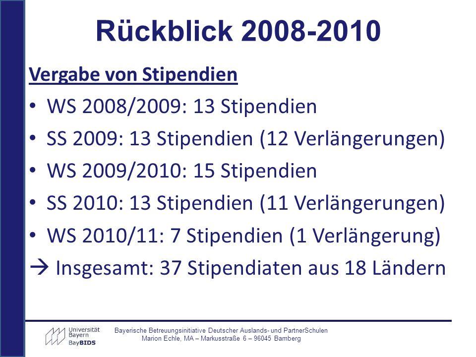 Vergabe von Stipendien WS 2008/2009: 13 Stipendien SS 2009: 13 Stipendien (12 Verlängerungen) WS 2009/2010: 15 Stipendien SS 2010: 13 Stipendien (11 V