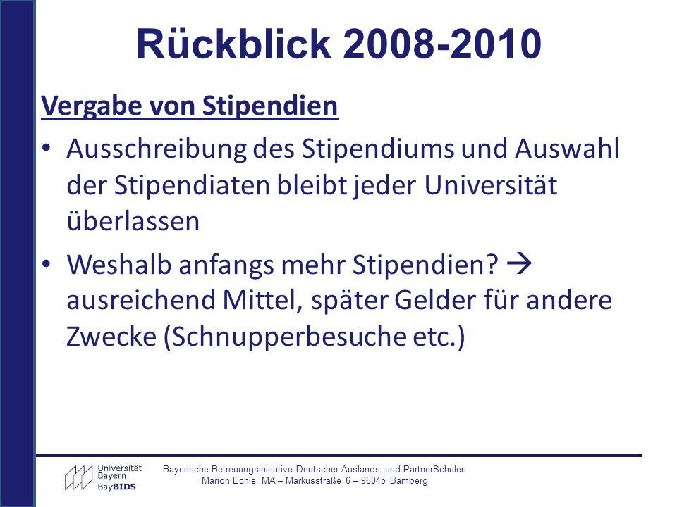 Jährliches Netzwerktreffen für Universitäten und Stipendiaten Bayerische Betreuungsinitiative Deutscher Auslands- und PartnerSchulen Marion Echle, MA – Markusstraße 6 – 96045 Bamberg Rückblick 2008-2010