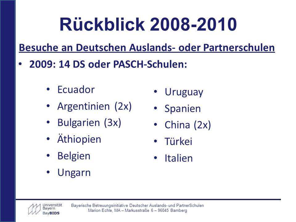 Ecuador Argentinien (2x) Bulgarien (3x) Äthiopien Belgien Ungarn Uruguay Spanien China (2x) Türkei Italien Bayerische Betreuungsinitiative Deutscher A