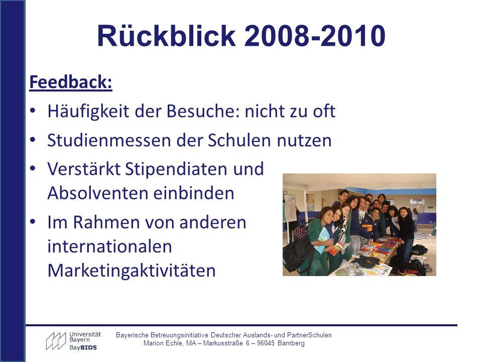 Rückblick 2008-2010 Feedback: Häufigkeit der Besuche: nicht zu oft Studienmessen der Schulen nutzen Verstärkt Stipendiaten und Absolventen einbinden I