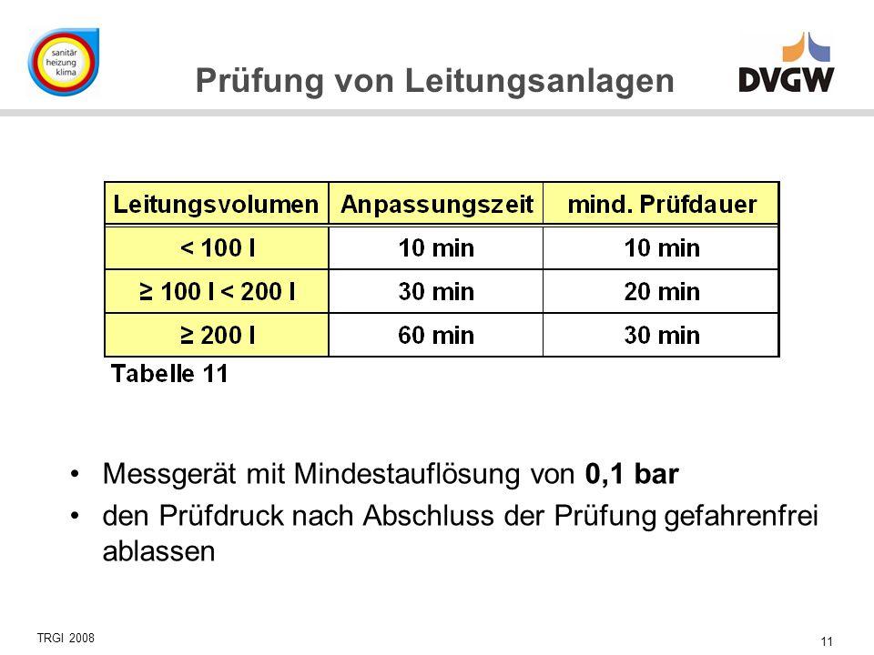 11 Prüfung von Leitungsanlagen Messgerät mit Mindestauflösung von 0,1 bar den Prüfdruck nach Abschluss der Prüfung gefahrenfrei ablassen TRGI 2008