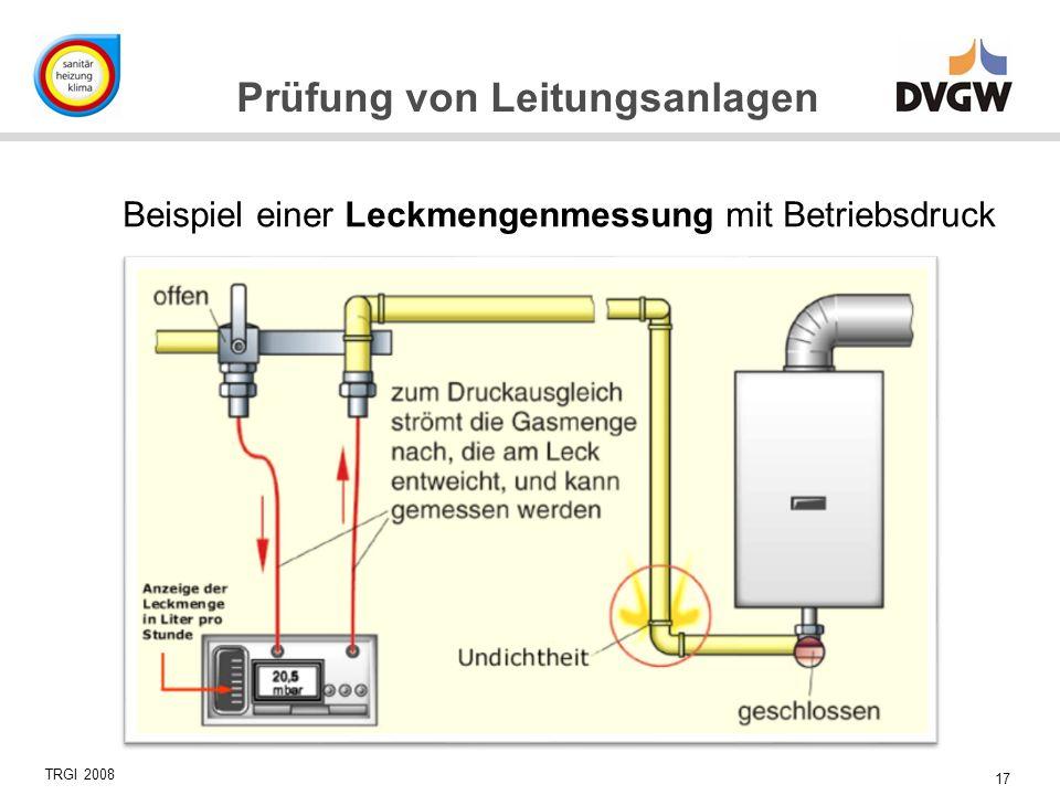 17 Prüfung von Leitungsanlagen TRGI 2008 Beispiel einer Leckmengenmessung mit Betriebsdruck