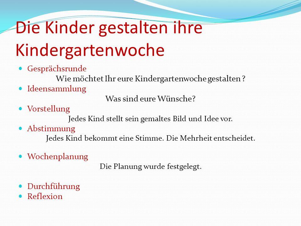 Die Kinder gestalten ihre Kindergartenwoche Gesprächsrunde Wie möchtet Ihr eure Kindergartenwoche gestalten ? Ideensammlung Was sind eure Wünsche? Vor