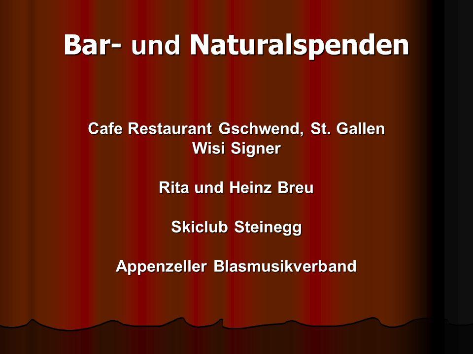 Bar- und Naturalspenden Cafe Restaurant Gschwend, St.