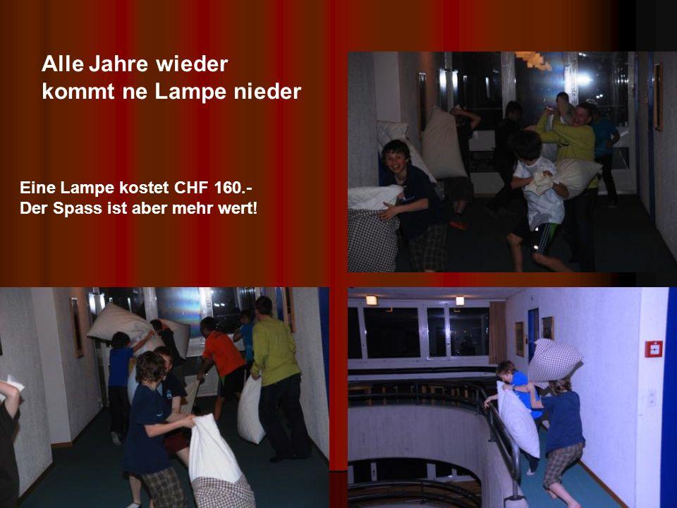 Alle Jahre wieder kommt ne Lampe nieder Eine Lampe kostet CHF 160.- Der Spass ist aber mehr wert!