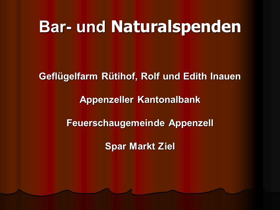 Geflügelfarm Rütihof, Rolf und Edith Inauen Appenzeller Kantonalbank Feuerschaugemeinde Appenzell Spar Markt Ziel