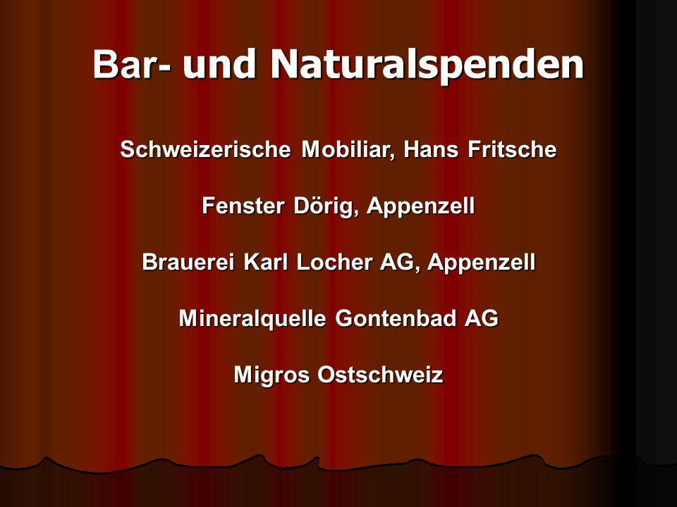 Bar- und Naturalspenden Schweizerische Mobiliar, Hans Fritsche Fenster Dörig, Appenzell Brauerei Karl Locher AG, Appenzell Mineralquelle Gontenbad AG Migros Ostschweiz