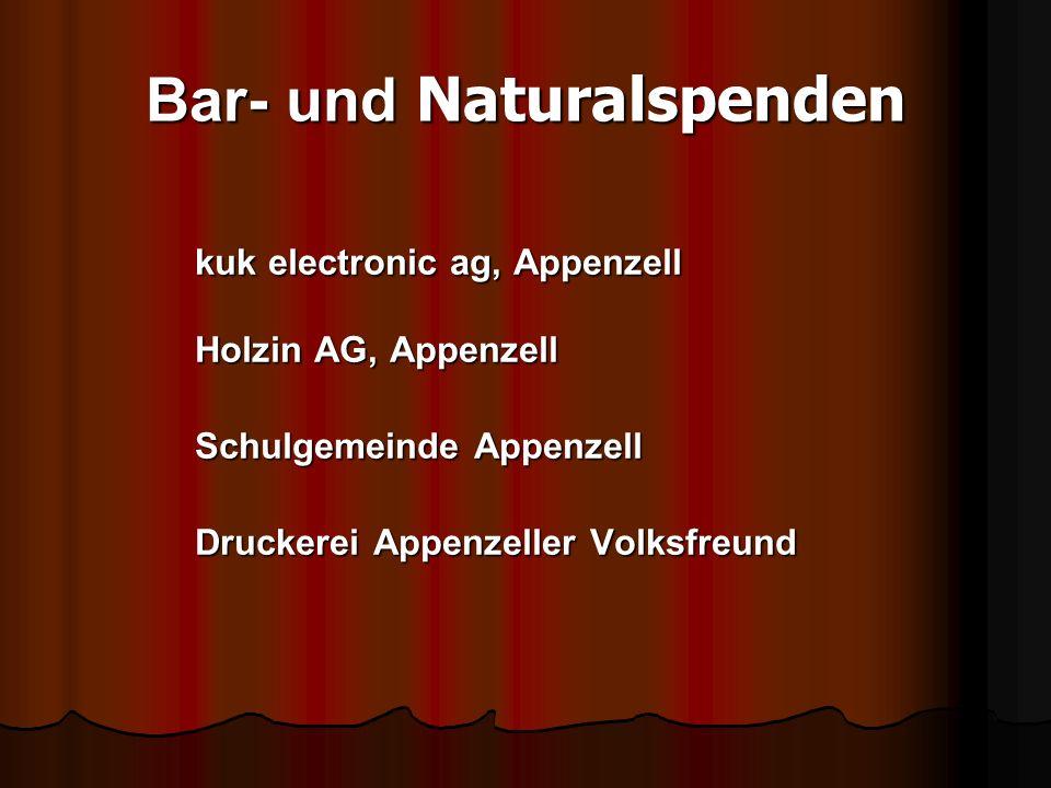 Bar- und Naturalspenden kuk electronic ag, Appenzell Holzin AG, Appenzell Schulgemeinde Appenzell Druckerei Appenzeller Volksfreund