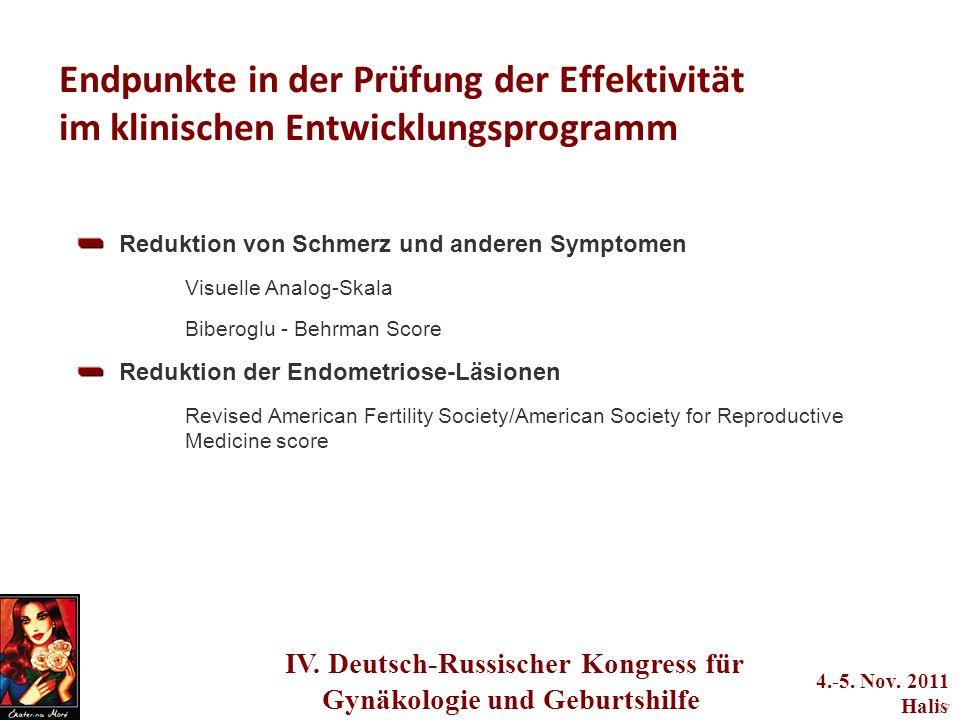 IV. Deutsch-Russischer Kongress für Gynäkologie und Geburtshilfe 4.-5. Nov. 2011 Halis 27 Endpunkte in der Prüfung der Effektivität im klinischen Entw