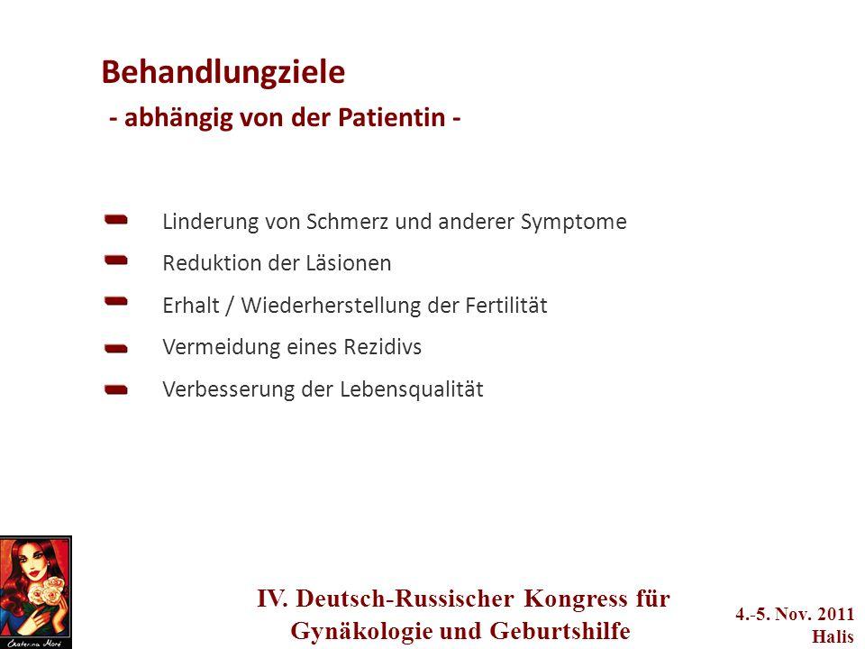 adwerwerwerwere q2we4234233 IV. Deutsch-Russischer Kongress für Gynäkologie und Geburtshilfe 4.-5. Nov. 2011 Halis Behandlungziele - abhängig von der