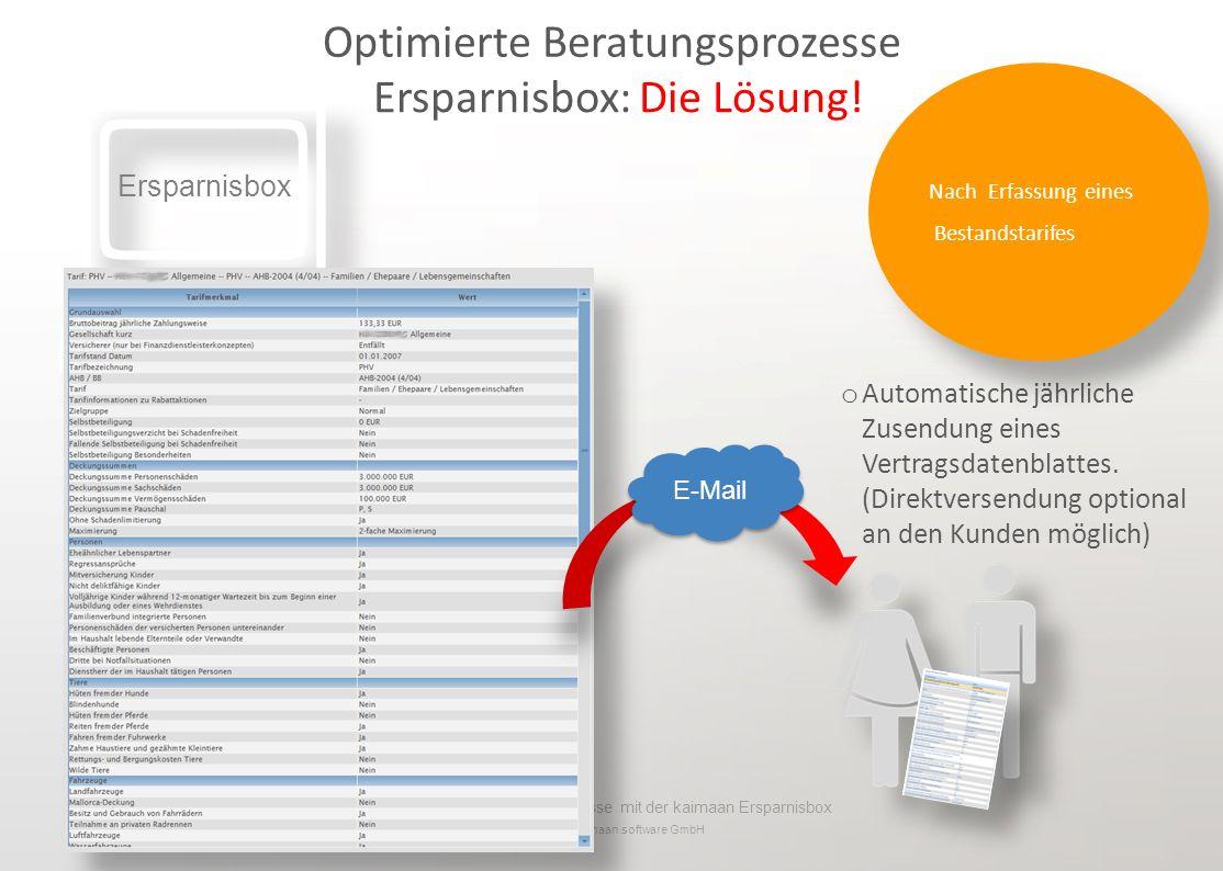 Optimierte Beratungsprozesse mit der kaimaan Ersparnisbox © 2013 kaimaan software GmbH o Automatische jährliche Zusendung eines Vertragsdatenblattes.