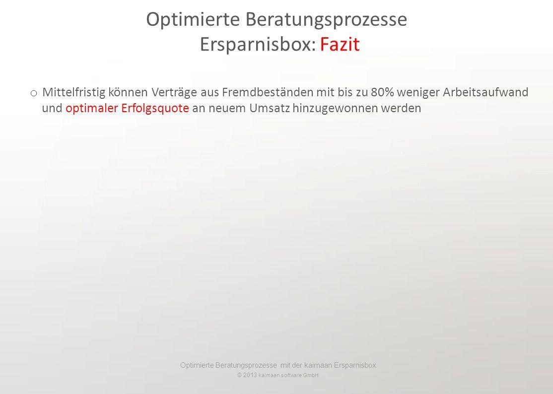 Optimierte Beratungsprozesse mit der kaimaan Ersparnisbox © 2013 kaimaan software GmbH Optimierte Beratungsprozesse Ersparnisbox: Fazit o Mittelfristi