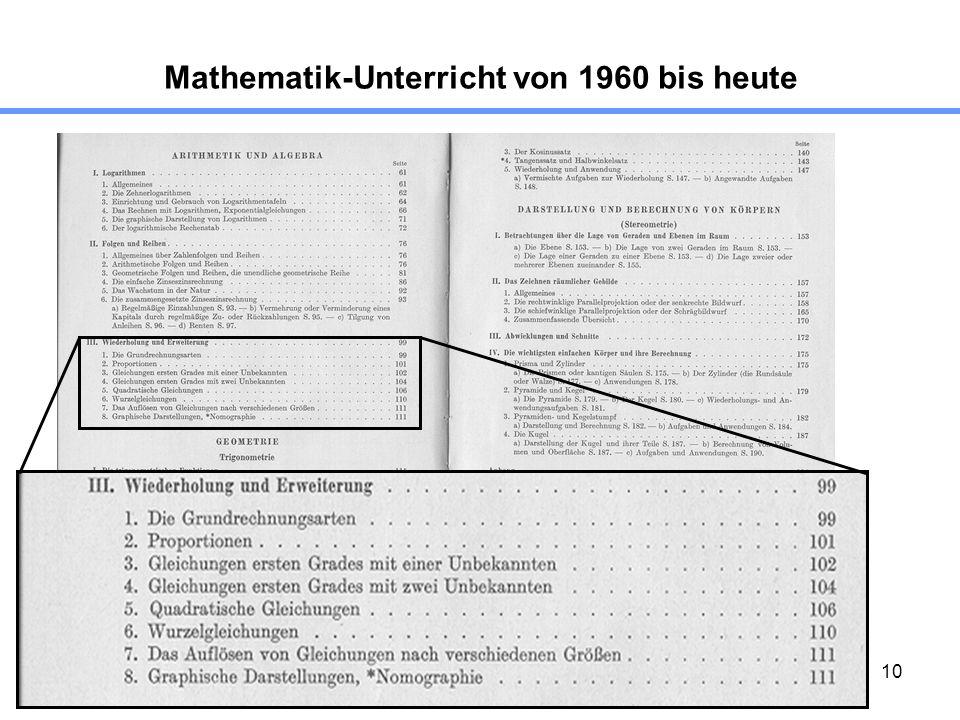 10 Mathematik-Unterricht von 1960 bis heute