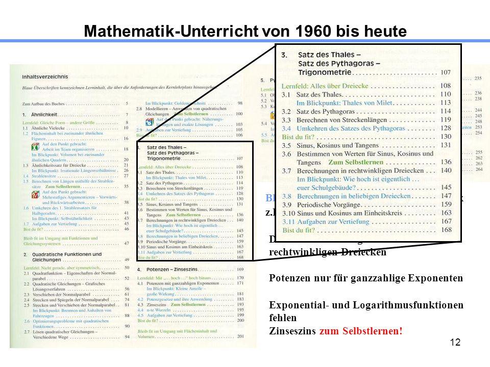 12 Mathematik-Unterricht von 1960 bis heute Blau gedruckte Inhalte: Keine Obligatorik z.B. Thema Strahlensätze 1.4 Dreiecksberechnungen nur an rechtwi