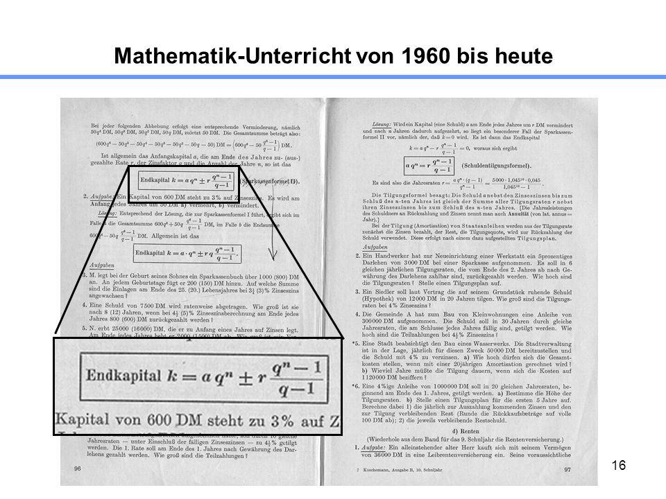 16 Mathematik-Unterricht von 1960 bis heute