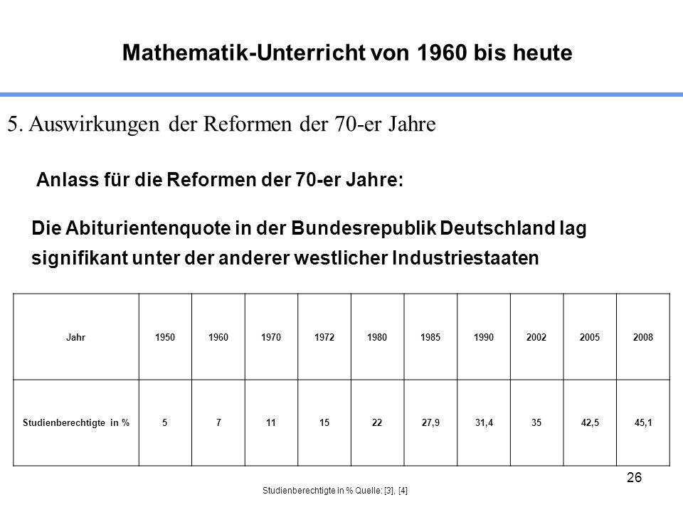26 Mathematik-Unterricht von 1960 bis heute 5. Auswirkungen der Reformen der 70-er Jahre Anlass für die Reformen der 70-er Jahre: Die Abiturientenquot