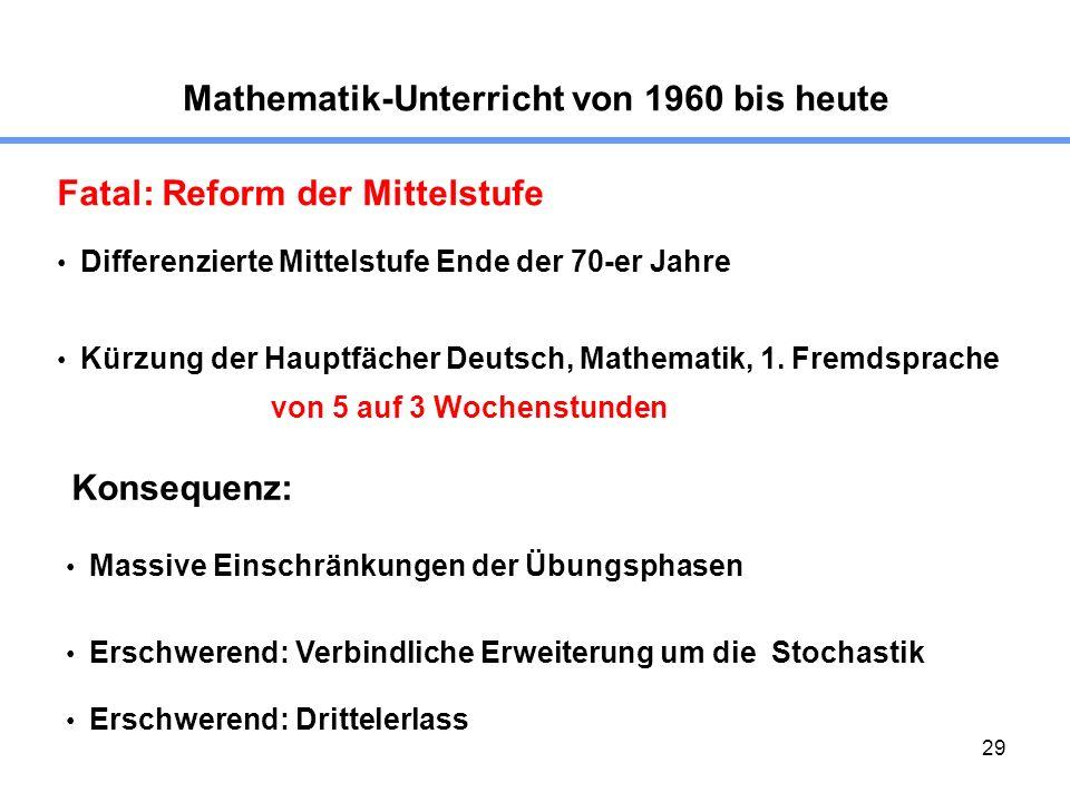 29 Mathematik-Unterricht von 1960 bis heute Fatal: Reform der Mittelstufe Konsequenz: Differenzierte Mittelstufe Ende der 70-er Jahre Kürzung der Hauptfächer Deutsch, Mathematik, 1.