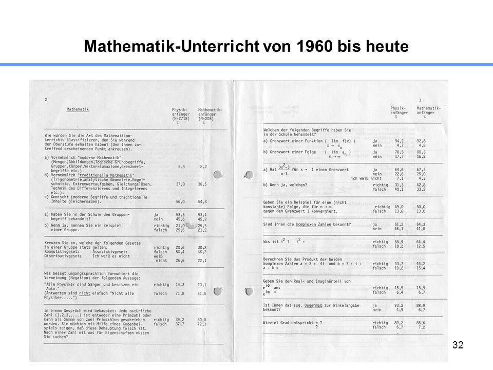 32 Mathematik-Unterricht von 1960 bis heute