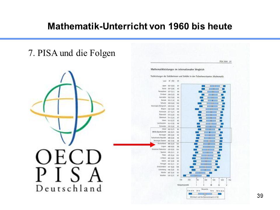 39 Mathematik-Unterricht von 1960 bis heute 7. PISA und die Folgen