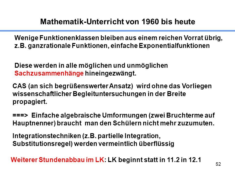 52 Mathematik-Unterricht von 1960 bis heute Wenige Funktionenklassen bleiben aus einem reichen Vorrat übrig, z.B. ganzrationale Funktionen, einfache E