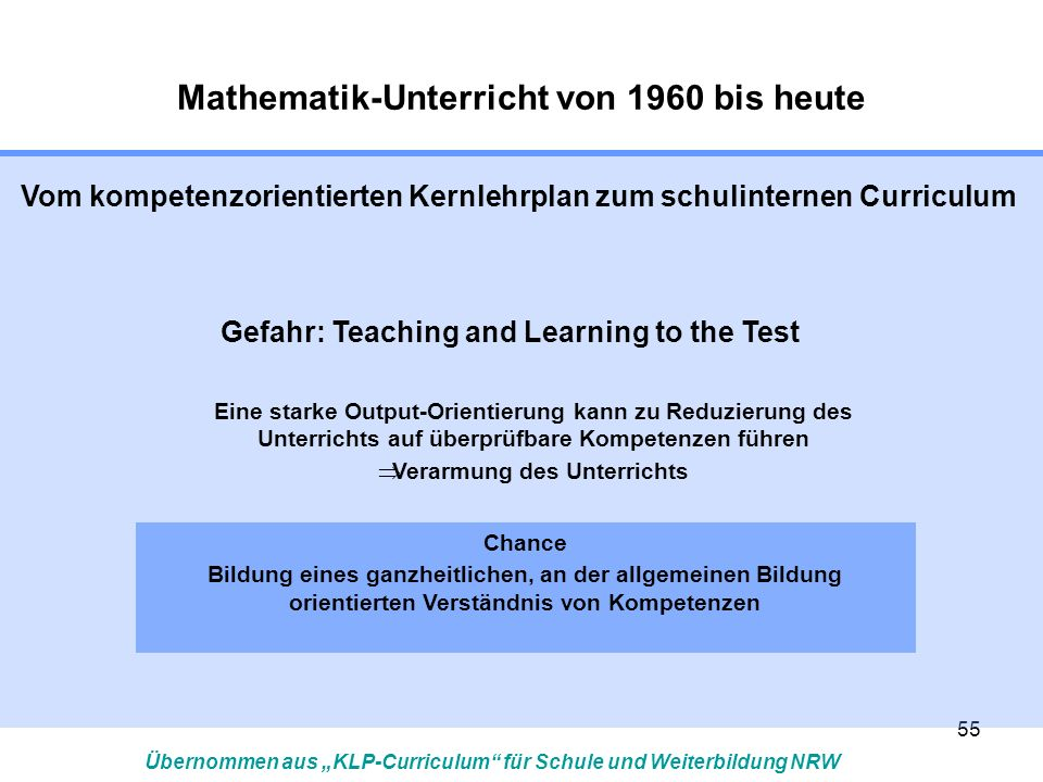55 Vom kompetenzorientierten Kernlehrplan zum schulinternen Curriculum Gefahr: Teaching and Learning to the Test Eine starke Output-Orientierung kann