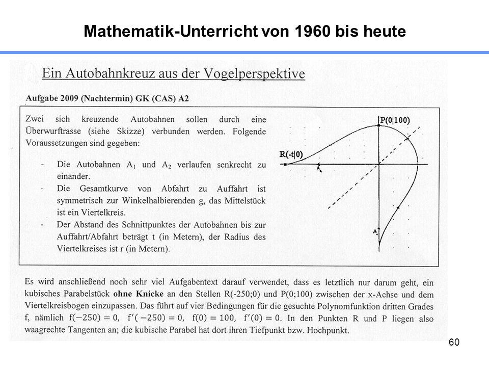 60 Mathematik-Unterricht von 1960 bis heute 2. Beispiel: GK-Aufgabe, Nachtermin A2, CAS