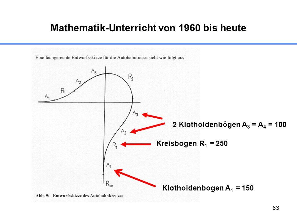 63 Mathematik-Unterricht von 1960 bis heute Klothoidenbogen A 1 = 150 Kreisbogen R 1 = 250 2 Klothoidenbögen A 3 = A 4 = 100