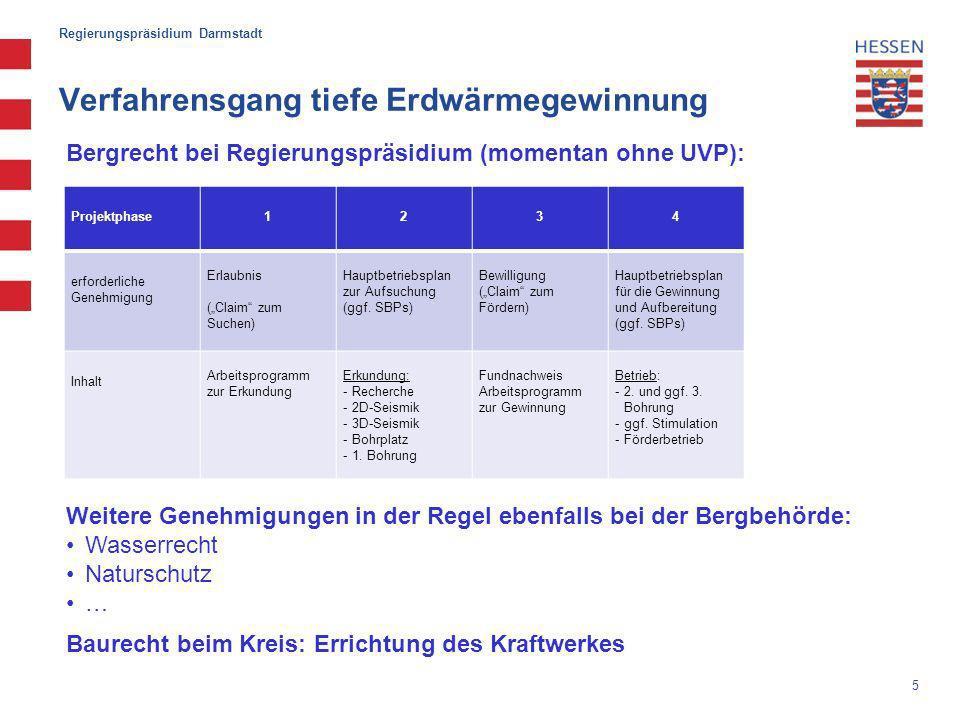 5 Regierungspräsidium Darmstadt Verfahrensgang tiefe Erdwärmegewinnung Projektphase1234 erforderliche Genehmigung Erlaubnis (Claim zum Suchen) Hauptbetriebsplan zur Aufsuchung (ggf.
