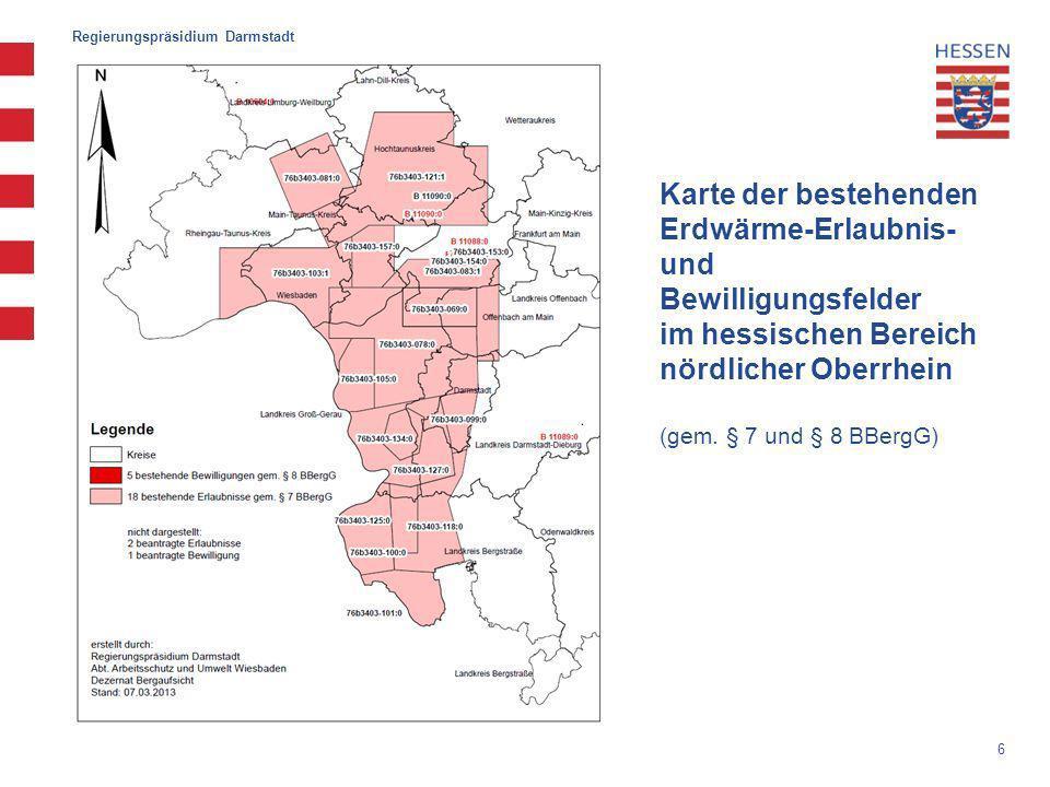 6 Karte der bestehenden Erdwärme-Erlaubnis- und Bewilligungsfelder im hessischen Bereich nördlicher Oberrhein (gem.