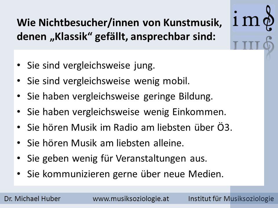 Wie Nichtbesucher/innen von Kunstmusik, denen Klassik gefällt, ansprechbar sind: Dr. Michael Huber www.musiksoziologie.at Institut für Musiksoziologie