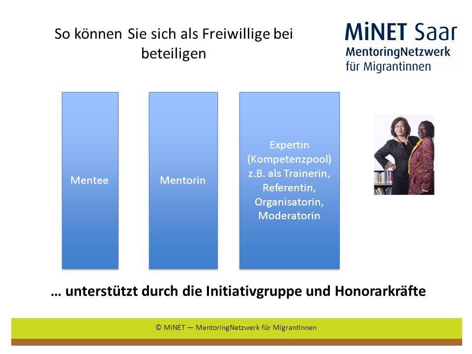 … unterstützt durch die Initiativgruppe und Honorarkräfte So können Sie sich als Freiwillige bei beteiligen © MiNET MentoringNetzwerk für Migrantinnen Expertin (Kompetenzpool) z.B.