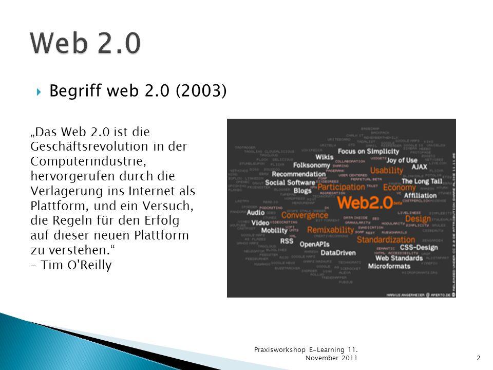 Begriff web 2.0 (2003) Das Web 2.0 ist die Geschäftsrevolution in der Computerindustrie, hervorgerufen durch die Verlagerung ins Internet als Plattfor
