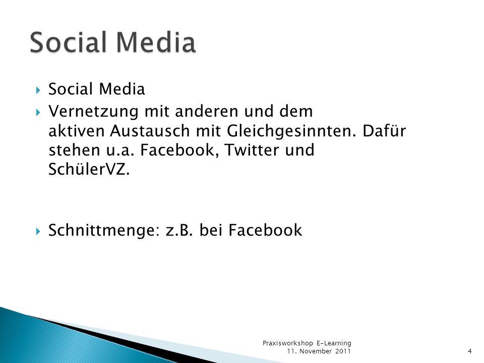 Social Media Vernetzung mit anderen und dem aktiven Austausch mit Gleichgesinnten. Dafür stehen u.a. Facebook, Twitter und SchülerVZ. Schnittmenge: z.