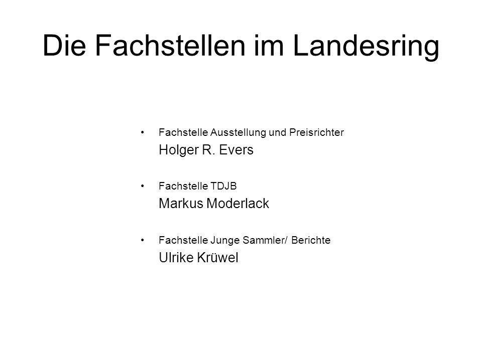 Die Fachstellen im Landesring Fachstelle Ausstellung und Preisrichter Holger R. Evers Fachstelle TDJB Markus Moderlack Fachstelle Junge Sammler/ Beric