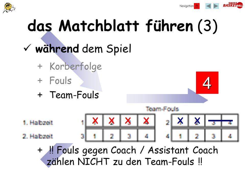 Navigation das Matchblatt führen (3) + Fouls + Korberfolge + Team-Fouls während dem Spiel XXXXXX 4 + !! Fouls gegen Coach / Assistant Coach zählen NIC