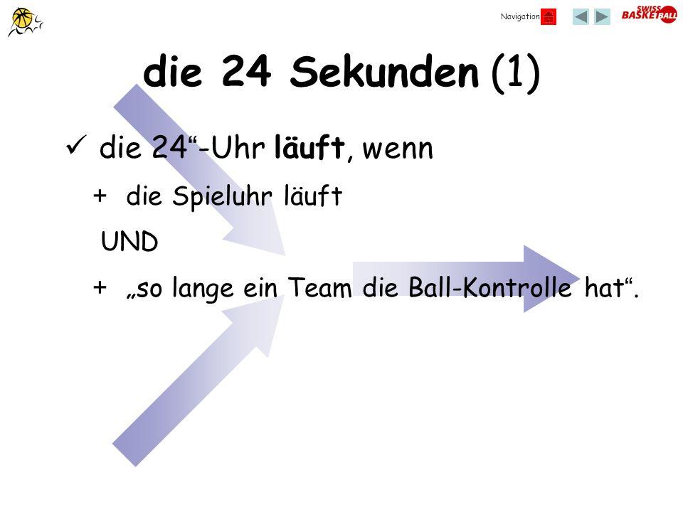 Navigation die 24 Sekunden (1) die 24-Uhr läuft, wenn + die Spieluhr läuft UND + so lange ein Team die Ball-Kontrolle hat.