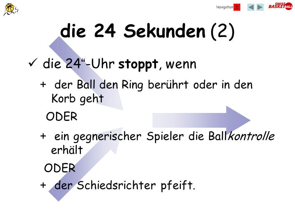Navigation die 24 Sekunden (2) die 24-Uhr stoppt, wenn + der Ball den Ring berührt oder in den Korb geht ODER + ein gegnerischer Spieler die Ballkontr