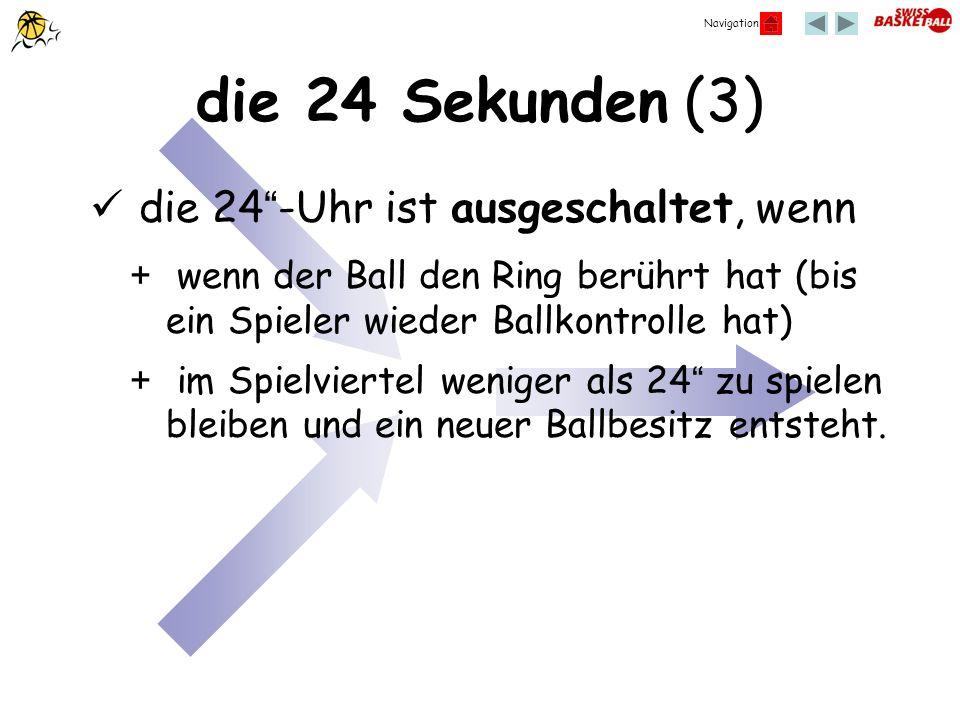 Navigation die 24 Sekunden (3) die 24-Uhr ist ausgeschaltet, wenn + wenn der Ball den Ring berührt hat (bis ein Spieler wieder Ballkontrolle hat) + im
