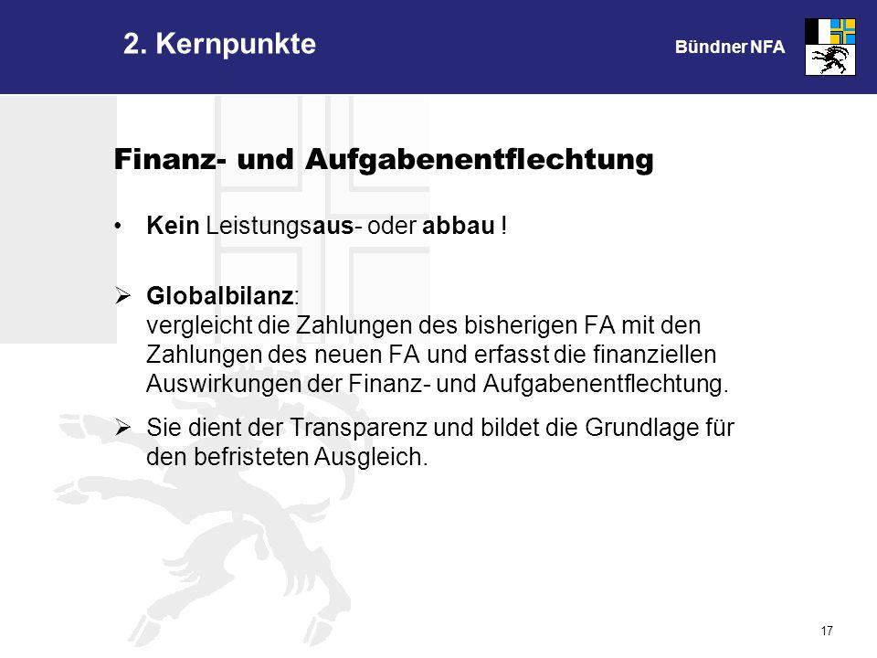 Bündner NFA 17 Finanz- und Aufgabenentflechtung Kein Leistungsaus- oder abbau .