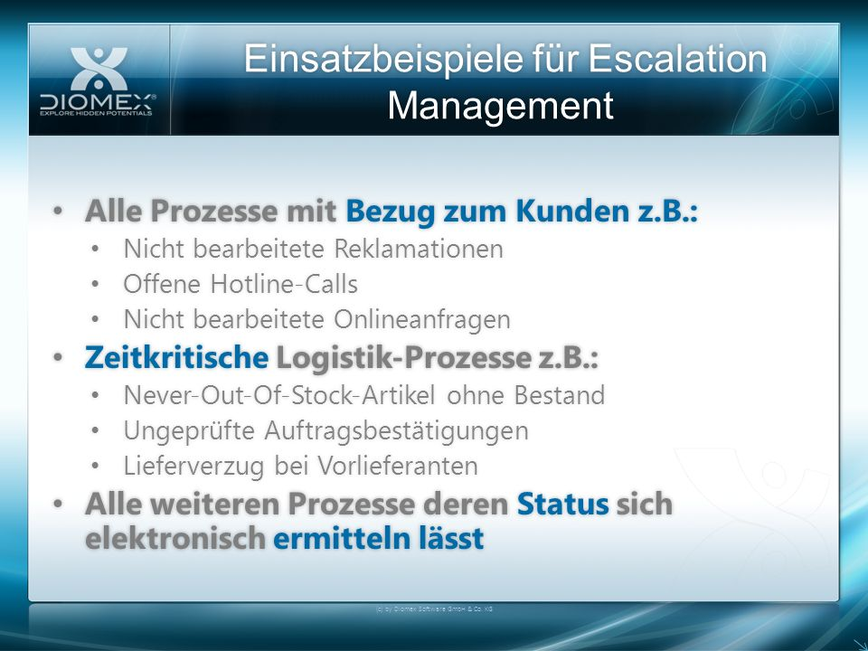Einsatzbeispiele für Escalation Management (c) by Diomex Software GmbH & Co.