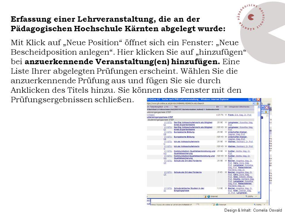 Erfassung einer Lehrveranstaltung, die an der Pädagogischen Hochschule Kärnten abgelegt wurde: Mit Klick auf Neue Position öffnet sich ein Fenster: Ne